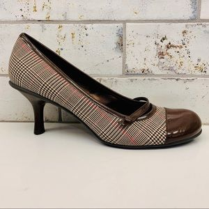 Bandolino Brown Houndstooth Plaid Mary Jane Heels